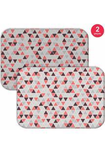 Jogo Americano Love Decor Multi Triângulos Cinza/Rosa
