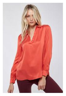 Camisa Seda Polo Fabiola Cetim Vermelho Raspberry