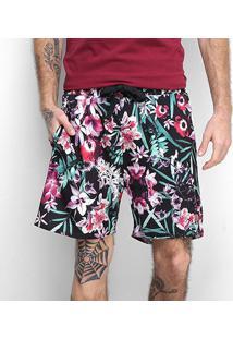 Shorts Gajang Floral Masculino - Masculino-Preto