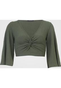 Blusa Cropped Mercatto Canelada Torção Verde - Kanui
