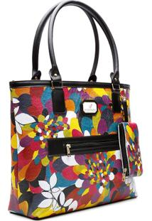 Bolsa Ombro Estampada 7811 Floral - Unissex-Colorido