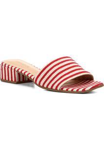 Sandália Shoestock Salto Baixo Listrada Feminina - Feminino-Vermelho