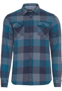 Camisa Masculina Box Flannel - Azul