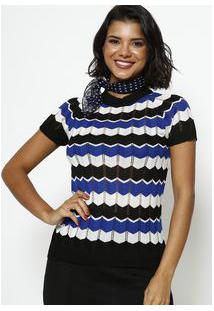 Ponto Aguiar Blusa Em Tricot Vazado Listrada Azul & Preta