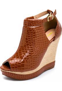 Sandalia Gisela Costa Anabela Ankle Boot Caramelo