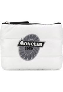 Moncler Clutch Matelassê Com Zíper - Branco