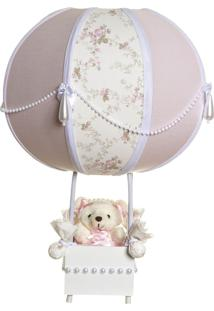 Abajur Balãozinho Ursinha Com Pérolas Quarto Bebê Infantil Potinho De Mel Rosa - Kanui