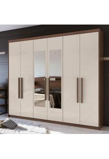 Guarda Roupa Casal Com Espelho 6 Portas Libra Móveis Lopas Imbuia Naturale/Off White