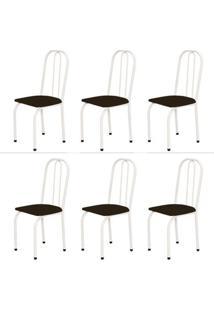 Kit 6 Cadeiras Baixas 0.101 Assento Reto Branco/Tabaco - Marcheli
