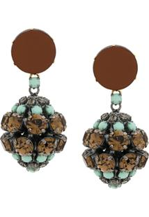 Marni Strass Clip-On Earrings - Green