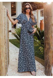 Vestido Longo Floral Preto Com Decote Profundo