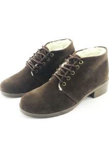 Bota Coturno Forrada Em Lã Quality Shoes Feminina Camurça Marrom 36