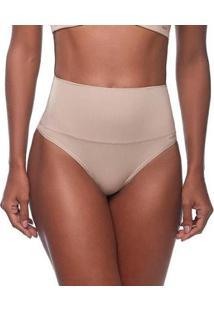 Calcinha Changerie Hot Pant Cintura Alta Fio Dental Feminina - Feminino-Marrom Claro