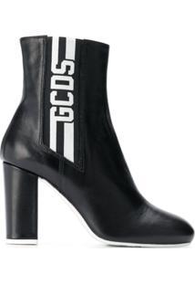Gcds Ankle Boot De Couro - Preto