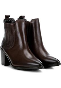 Bota Chelsea Shoestock Bico Fino Feminina - Feminino-Café