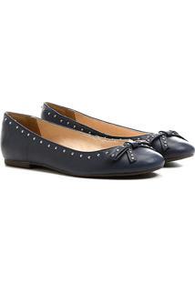 Sapatilha Couro Shoestock Laço Cravinhos Feminina - Feminino