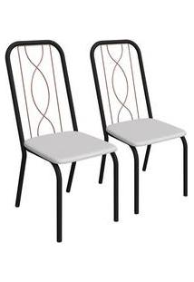 Kit 2 Cadeiras Viena Preto Fosco E Branco 2C081Pfr-106 Kappesberg