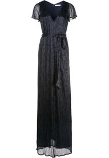 Halston Heritage Vestido Gola V Com Fenda Frontal - Azul