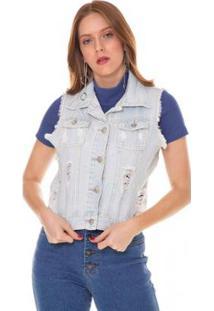 Colete Jeans Express Carol Feminino - Feminino-Azul