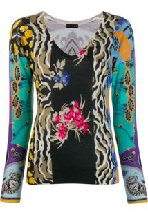 Etro Printed V-Neck Top - Preto