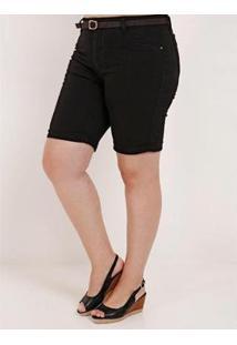 Bermuda Cambos Sarja Com Cinto Plus Size Feminina - Feminino-Preto
