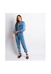 Macacão Feminino Manga Longa Jeans Estonado