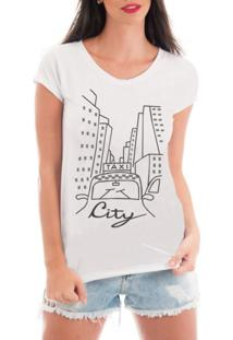 Camiseta Criativa Urbana Rendada Passeio Pela Cidade Branca