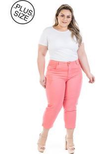 7ef8e58362e5a1 Dafiti Calça Plus Size - Confidencial Extra Jeans Capri Munich Coral