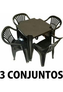 Conjunto Mesa E 4 Cadeiras Poltrona Plastico Preto 3 Conjuntos