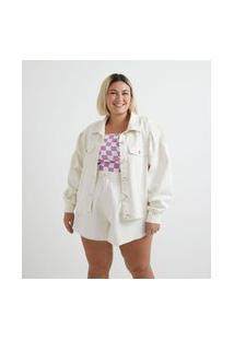Jaqueta Sarja Liso Com Botões De Pérola Curve & Plus Size Bege