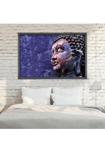 Quadro Com Moldura Buddha Grafitti Metalizado - Médio