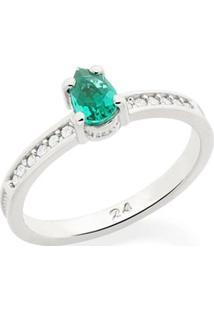 Anel Skinny Ring Zircônias E Cristal Verde Rommanel - Feminino-Prata