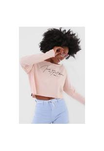 Camiseta Cropped Coca-Cola Jeans Never Give Up Rosa