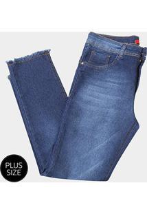 Calça Jeans Biotipo Midi Alice Barra Desfiada Plus Size Feminina - Feminino