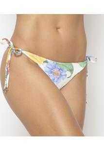 Calcinha Tanga Floral - Off White & Amarelar. Do Sol