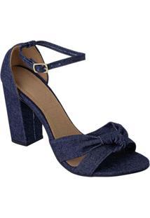 Sandália Jeans Em Tecido Com Amarração