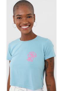 Camiseta Cropped Aeropostale Island Time Azul/Rosa - Kanui