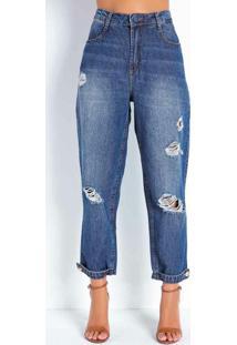 Calça Jeans Mom Jeans Cropped Com Botões Sawary