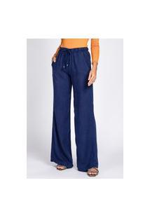 Calça Pantalona Bloom Liocel Elástico Na Cintura Azul Noite