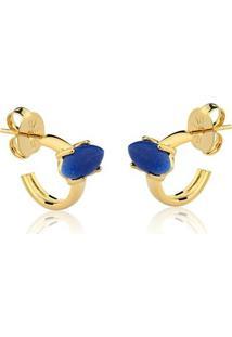 Brinco Toque De Joia Mini Argola Navete Pedra Pequena Quartzo Azul - Feminino-Dourado