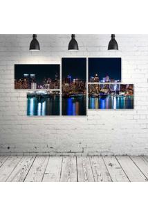 Quadro Decorativo - Usa-Skyscrapers-Rivers-New-York-City - Composto De 5 Quadros