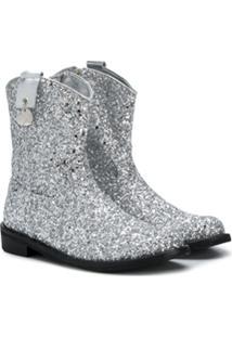 Monnalisa Ankle Boot Com Glitter - Prateado