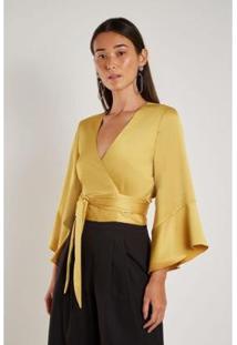 Blusa Sacada Amarração Feminina - Feminino-Amarelo