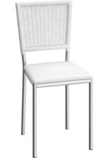 Cadeira De Aço Boston C150 Compoarte Cromado/Branco