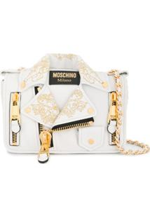 Moschino Biker Embroidered-Detail Bag - Branco
