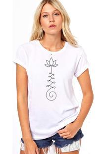 Camiseta Coolest Flor De Lotus Desenho Branco