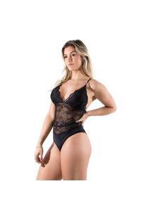 Body Sexy Renda Feminino Linha Noite Anita Preto