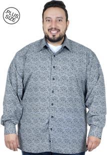 Camisa Plus Size Bigshirts Manga Longa Cash - Preta