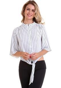 Blusa Listrada Chiffon Com Amarração Feminina - Feminino-Branco