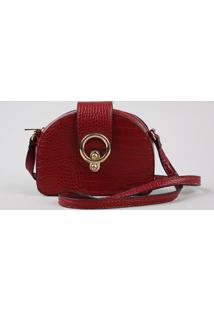 Bolsa Feminina Transversal Pequena Croco Com Argola Vermelha